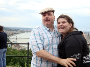 The two of us on choir tour in high school, overlooking the Danube river in Hungary.
