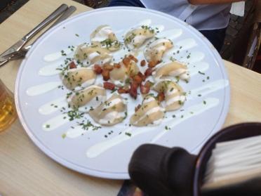 Pierogi-style dumplings.