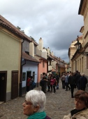 "An original medieval street. Kafka started his infamous ""Metamorphasis"" in that blue house."