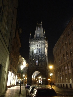 The powder tower in Prague, all lit up. It is one of the main entrances to Old Town.