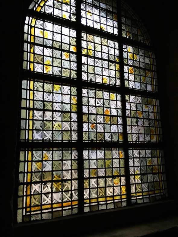 Stained glass in the church of Saint Honoratus.